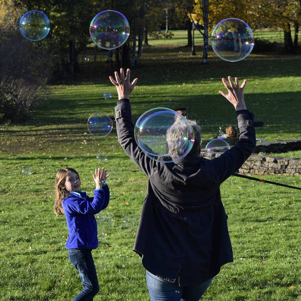 Playing with bubbles in Cathedral Park | Portland, OR