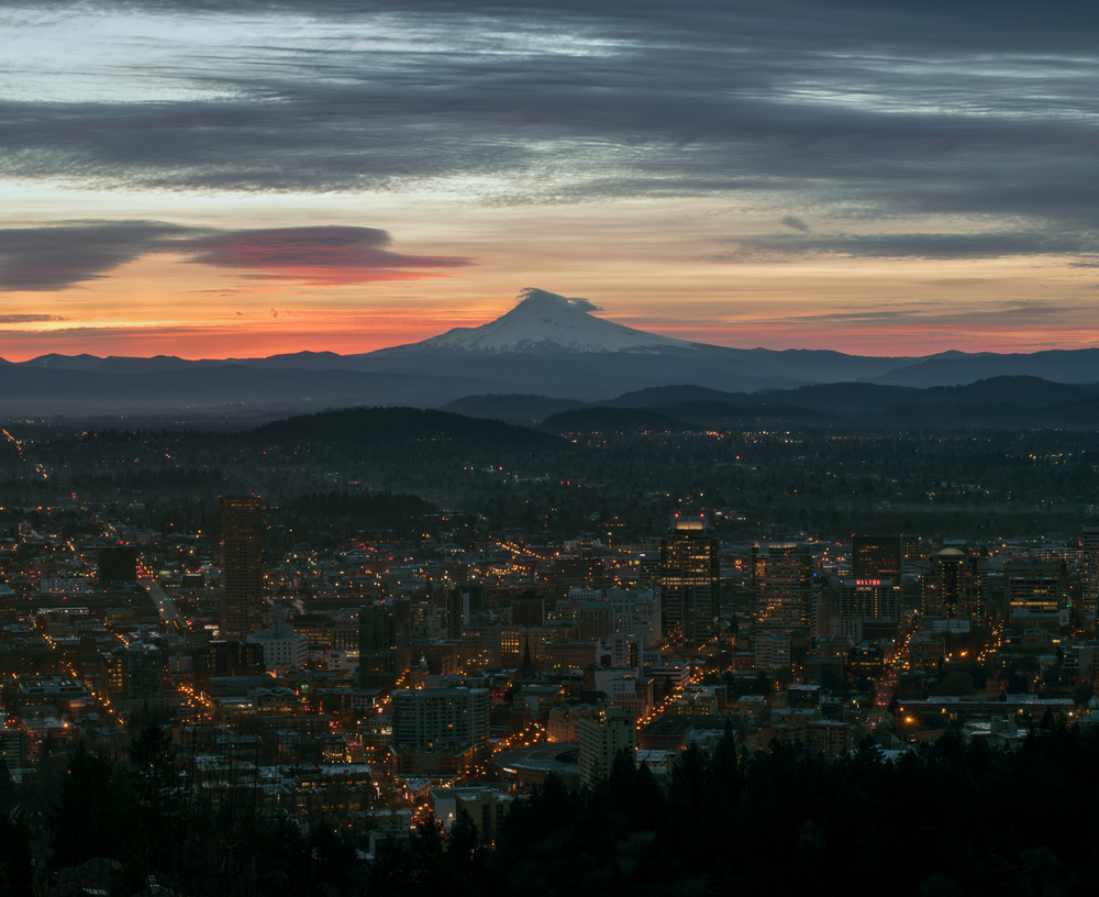 Sunrise over downtown & Mt. Hood | Portland, OR