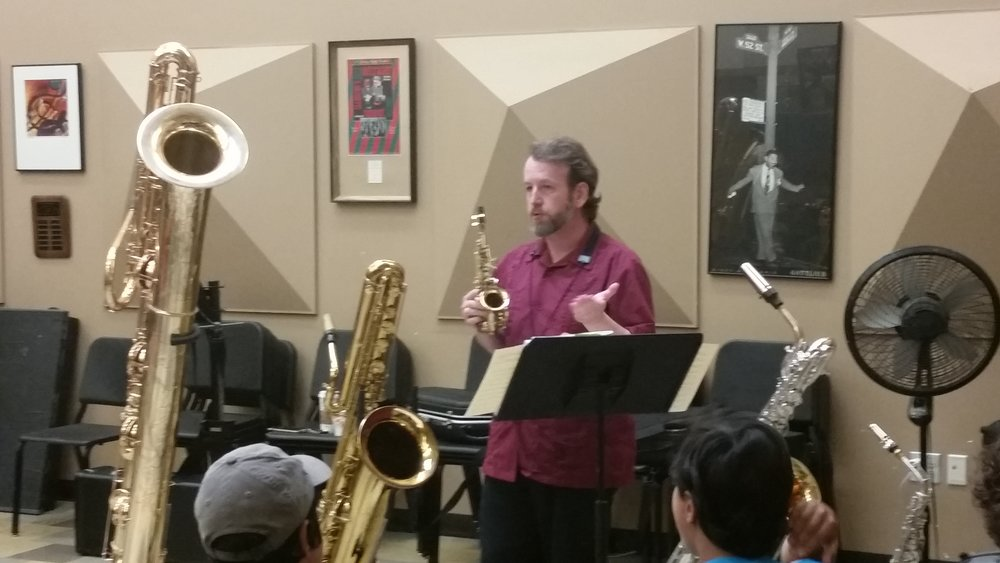 Woodwind specialist and guest artist Dr. Jay Easton displays his rare collection of saxophones, from the tiny Sopranino to the massive contra-bass Saxophone.