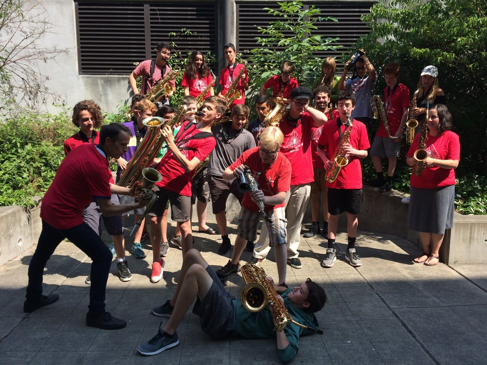 "A fun ""sax-battle"" breaks out on the last day of the High School camp!"