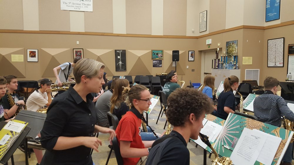 Saxophone coach Dr. Rhonda Taylor mentors our high school students during our 2018 season.