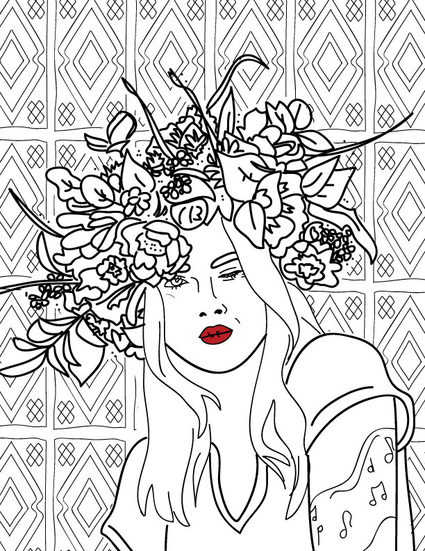 VERY ADULT COLORING BOOKS illustration flower crown winking babe