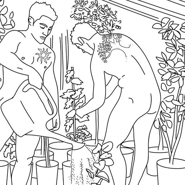 Very Happy Nude Year! So far, good things are growing.  #veryadultcoloringbooks #iamveryadult #coloringbook #garden #greenthumb