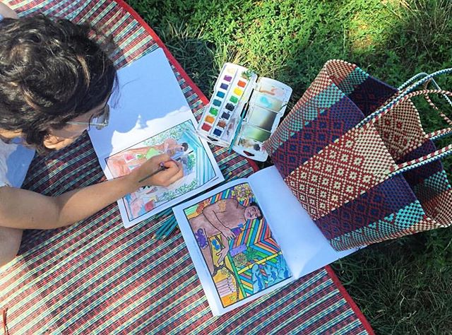 sundays are for coloring outside [the lines]. #veryadultcoloringbooks #iamveryadult #coloringbook #garden #picnic