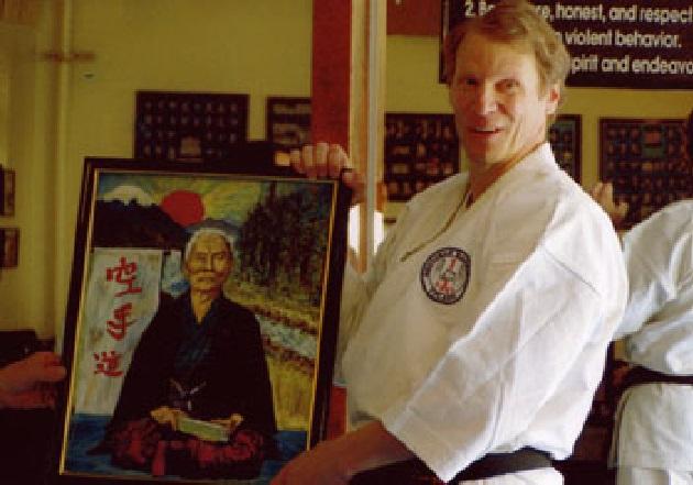 Sensei Mike Whiteside and his portrait of Gichen  Funakoshi2.jpg