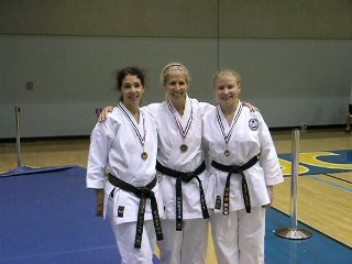 Team Kata under Coach-Sensei Penny  Ringwood Carol%2c Lynn & Tatayana celebrate medal placing at local Karate  tournament.jpg