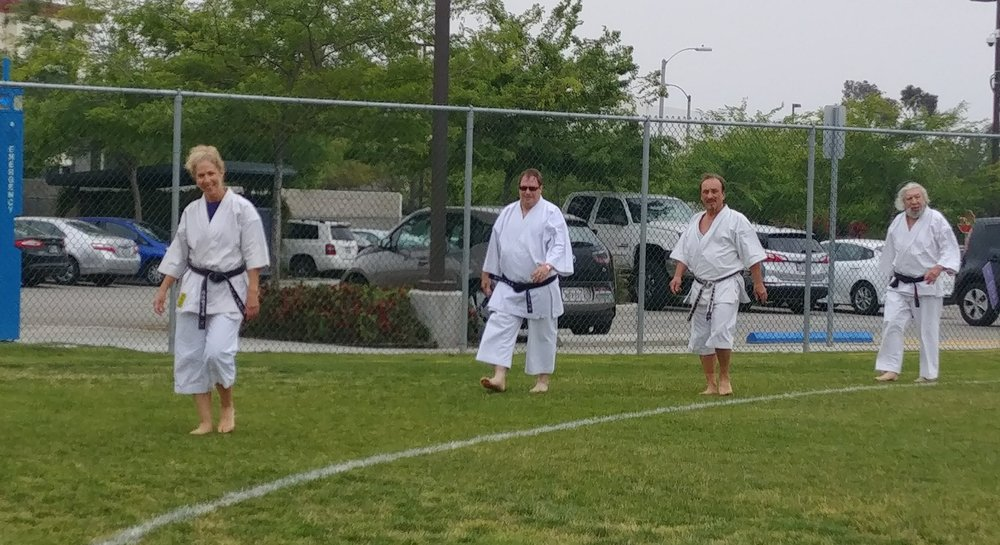 Relay for Life  , University of La Verne, May 19,2018 -- USKL Demonstration Team  Left to Right: Senseis Lynn Aponte, James Augur, Ty Aponte, and Leo Shortle