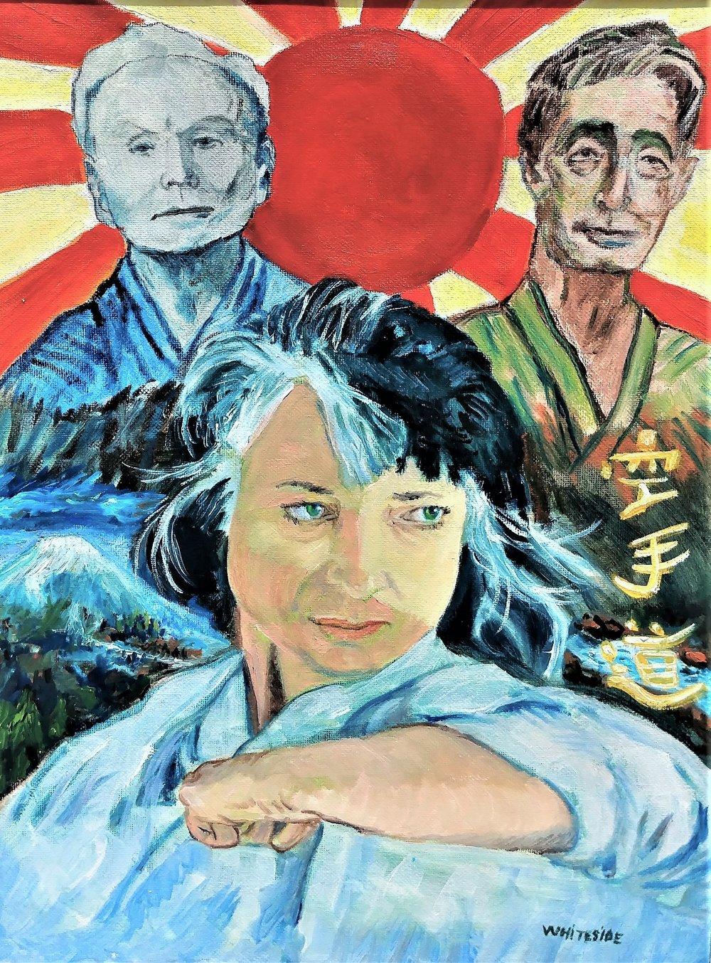 Painting of Master Funakoshi &  Nishiyama and Sensei Penny by Mike Whiteside.jpg