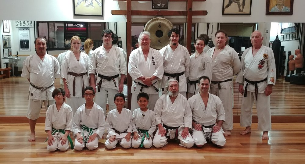 Special Training with Sensei Jeff Klein on May 31, 2018  Left to Right: Sensei Ty, Gynneth St. Martin, Jeremy Oaken, Sensei Klein, Mark Oaken, Ariel Heyman, Sensei Heyman, Don Marolli; Ivan La Rache, (), (), Ian Li, Sensei Leo, and Dr. Dave Michelson