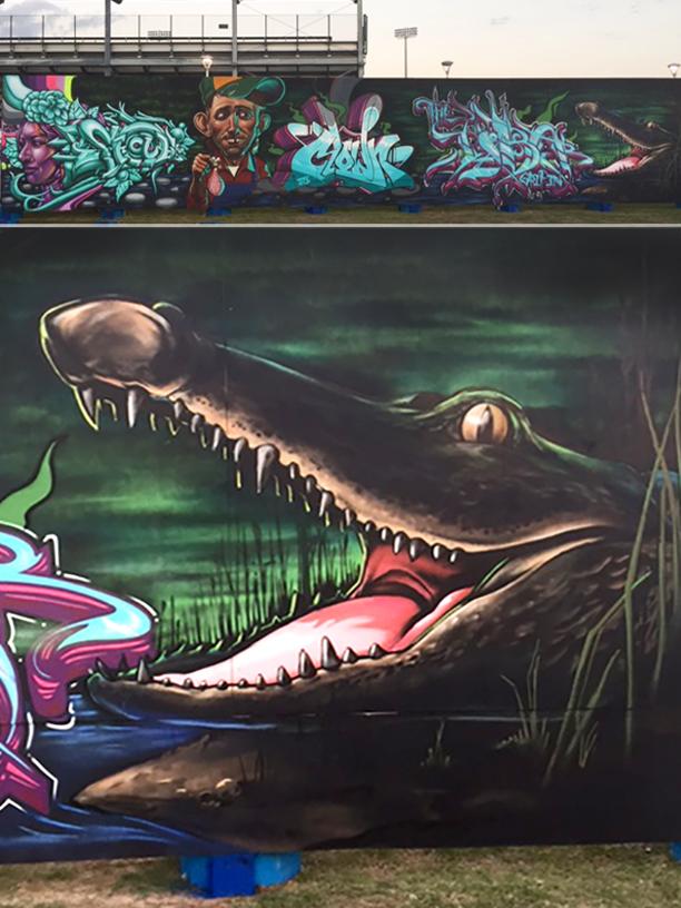 illectric River live art Mural, Waco Texas 2017