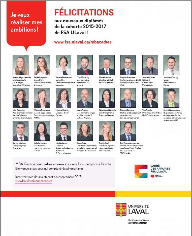 MBA pour cadre de l'université Laval : devenir gestionnaire de haut niveau et entrepreneur.