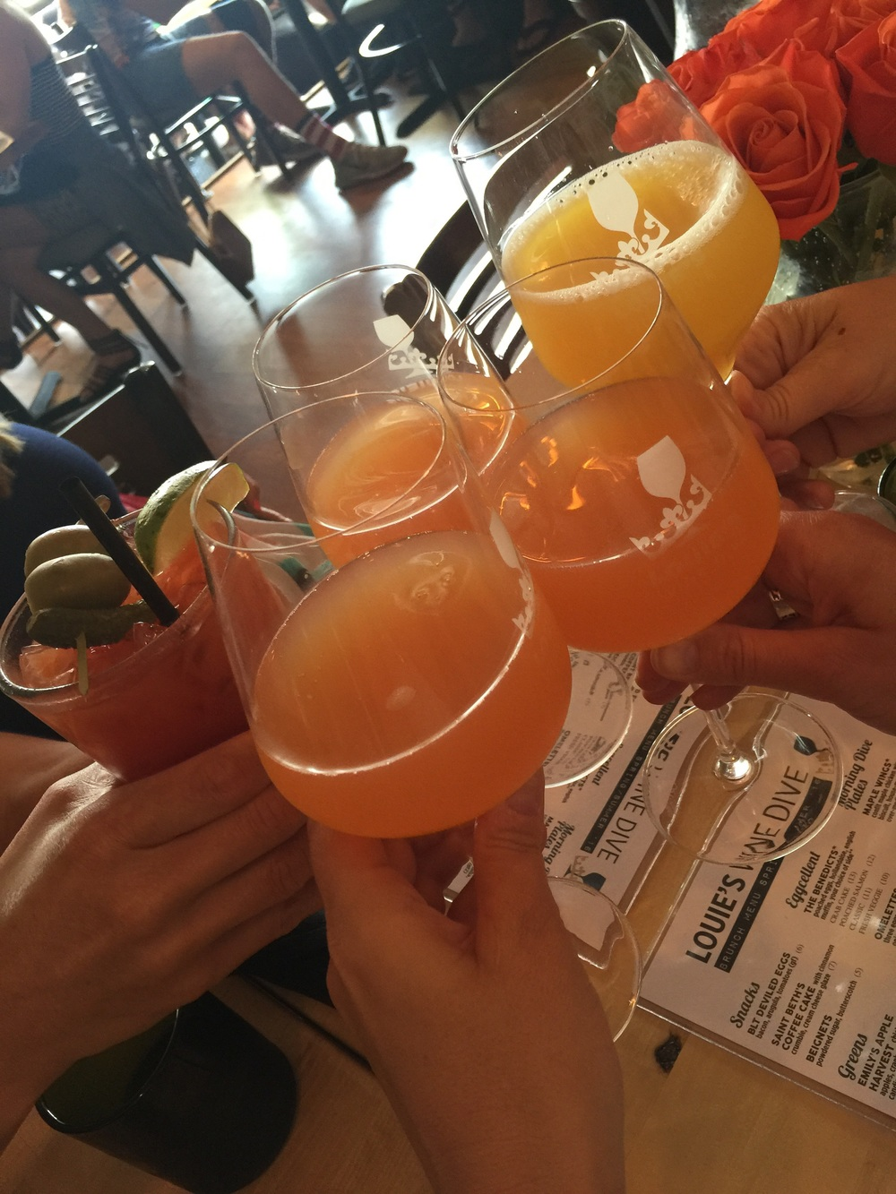 Grapefruit and Orange Juice mimosas