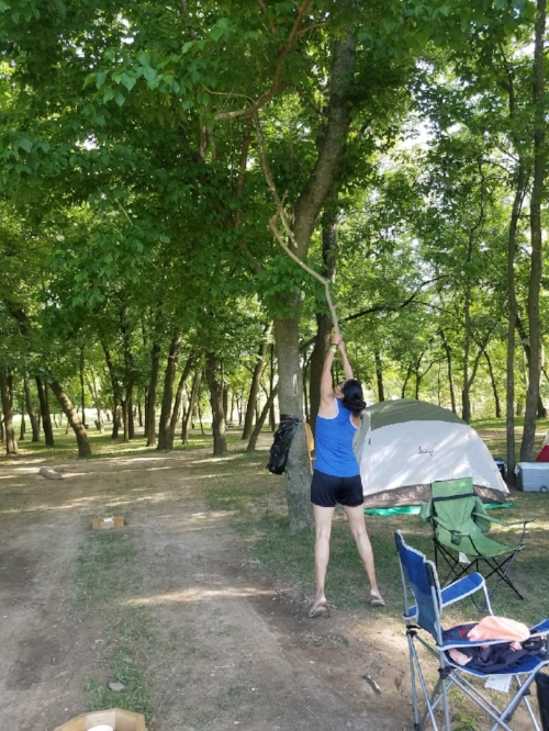When you have the camp site to yourselves you come up with new games to play.