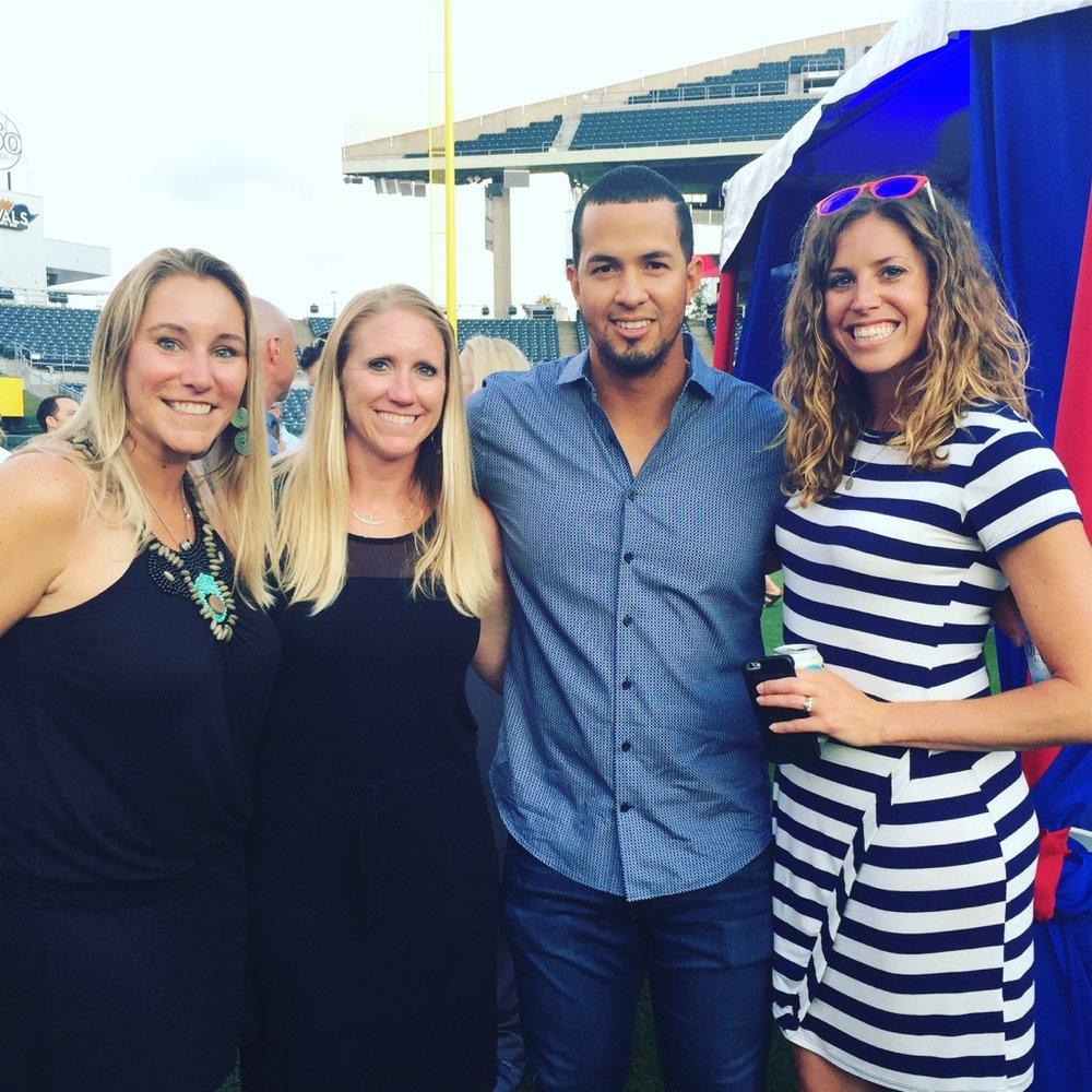 Stephanie, Kristi, infielder Cheslor Cuthbert, and Leslie