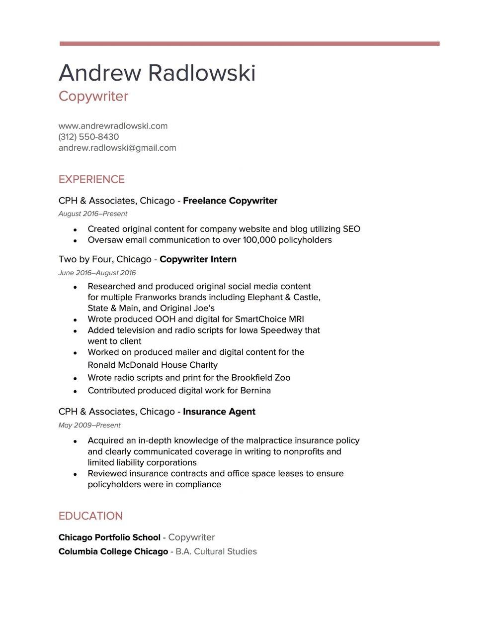 Andrew Radlowski Copywriter  Copywriter Resume