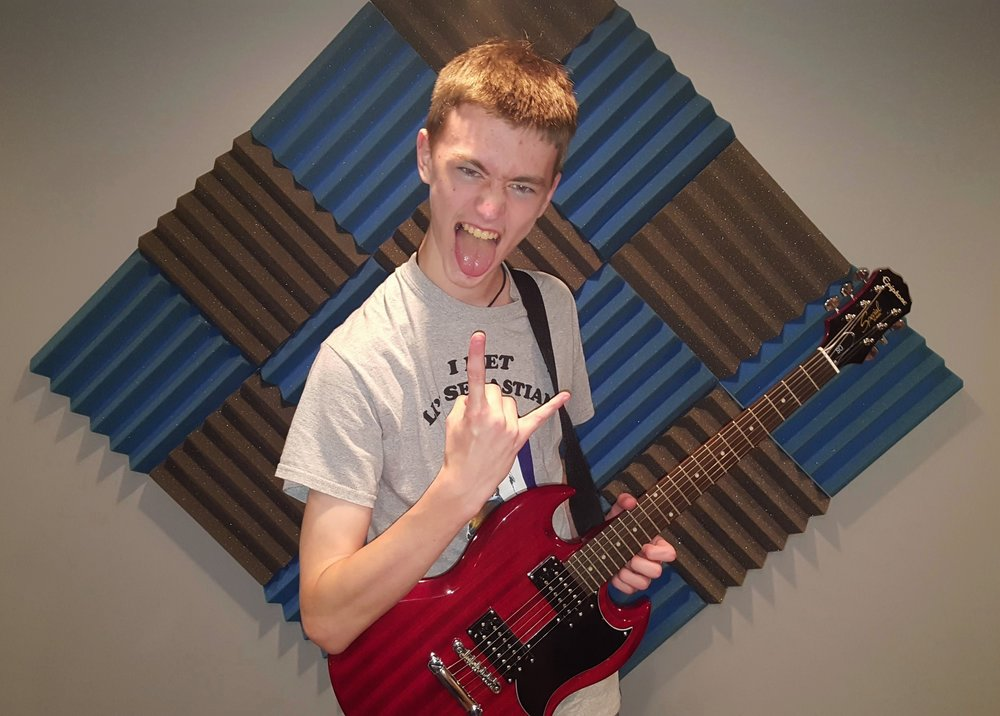 Carmel High School metal student Liam Easely posing for his up coming recording session.