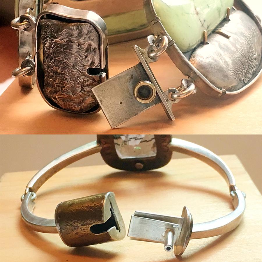by Judy Parady,  Top bracelet. Silver, Gold, Chrysoprase. Bottom bracelet. Content: Silver, Brass, Rutilated Quartz.