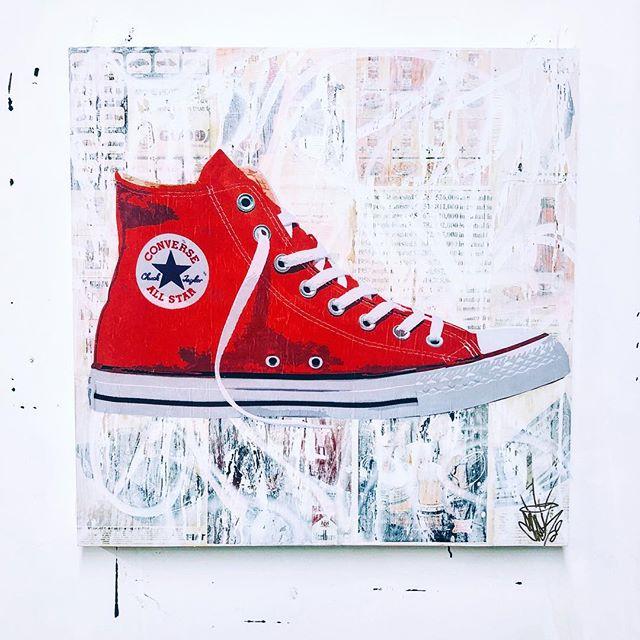 "New Chucks - Vintage @time magazine, aerosol, gesso & acrylic on 36""x36"" wood panel with epoxy resin finish. DM to purchase... . . . . . . . . . . . . .  #SeekOne #ContemporaryArt #FineArt #StreetArt #Art #Artist #ArtStudio #Graffiti #ArtCollector #MixedMedia #ArtCollector #MixedMedia #PopArt #Artist #LuxuryLifestyle #AbstractArt #NYCArt #MixedMedia #AbstractArt #Philadelphia #NYC #Hamptons #WallStreet #MiamiArt #LAArt #Converse"
