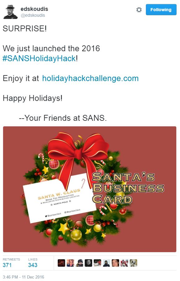 @EdSkoudis announces early release of Holiday Hack Challenge