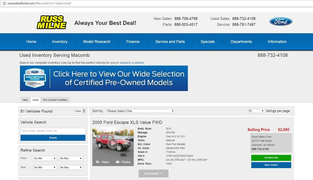 Ford Dealership with 81 used vehicles available at the time of this blog post