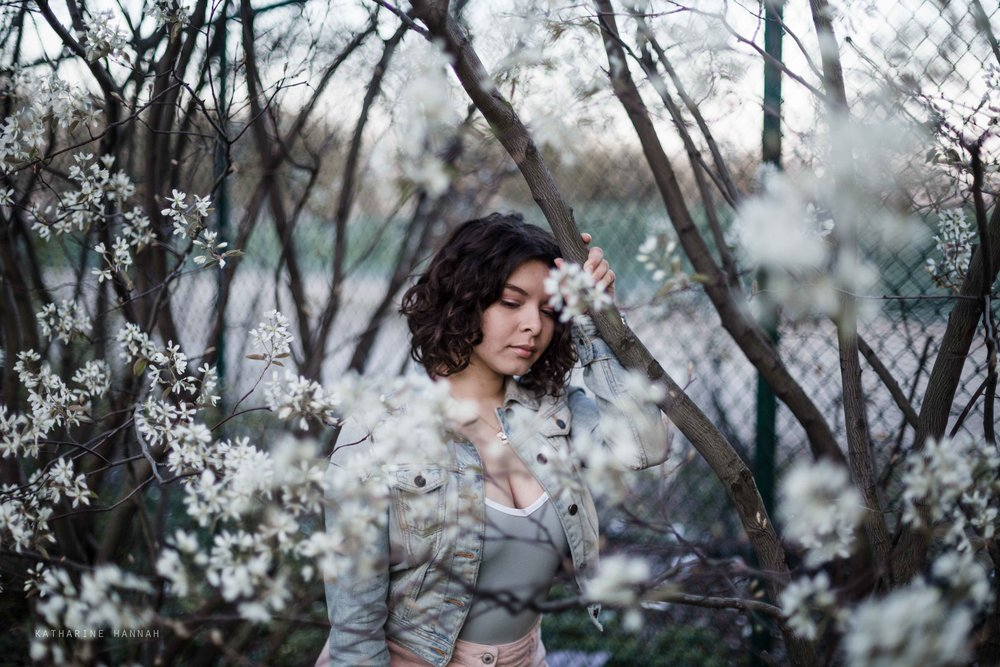 Fluffy white flowers at Chicago senior picture session