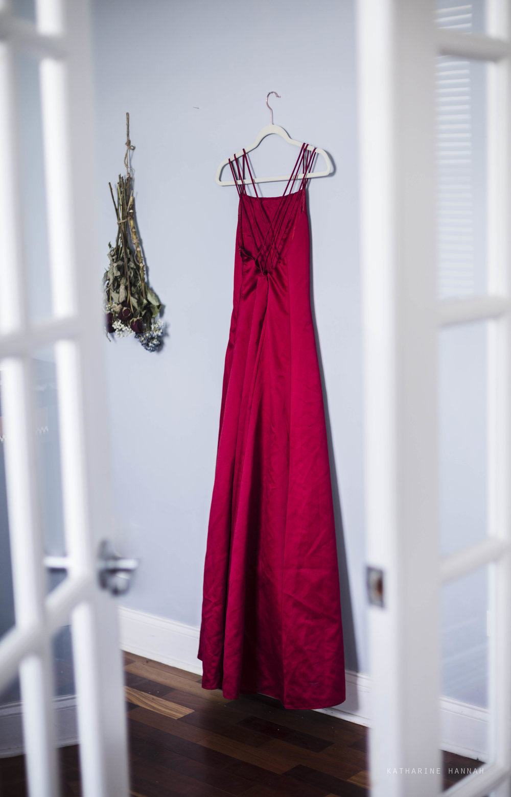 Betsy & Adam gown in Chicago photo studio for clients to wear