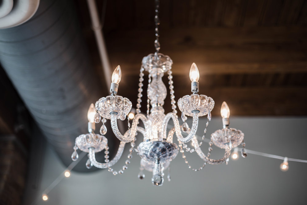 Ornate chandelier in Splendid Weddings & Events Chicago studio