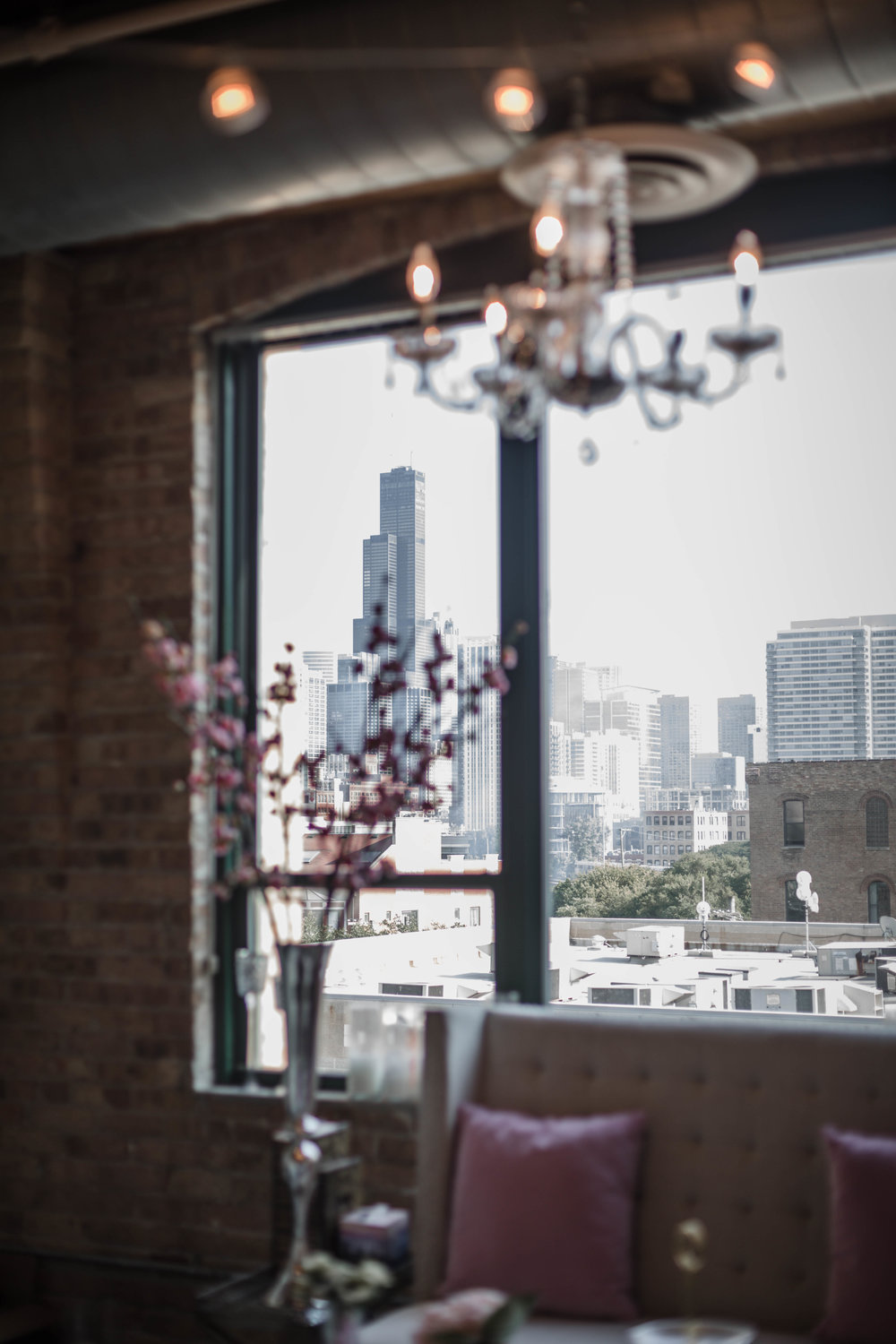 Downtown Chicago skyline view from wedding planner studio