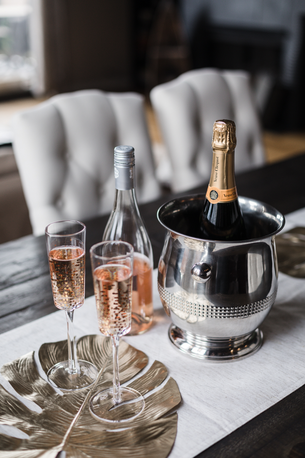 Rosé champagne to celebrate the feature of Deco Adamo, an on-site beauty company in Chicago