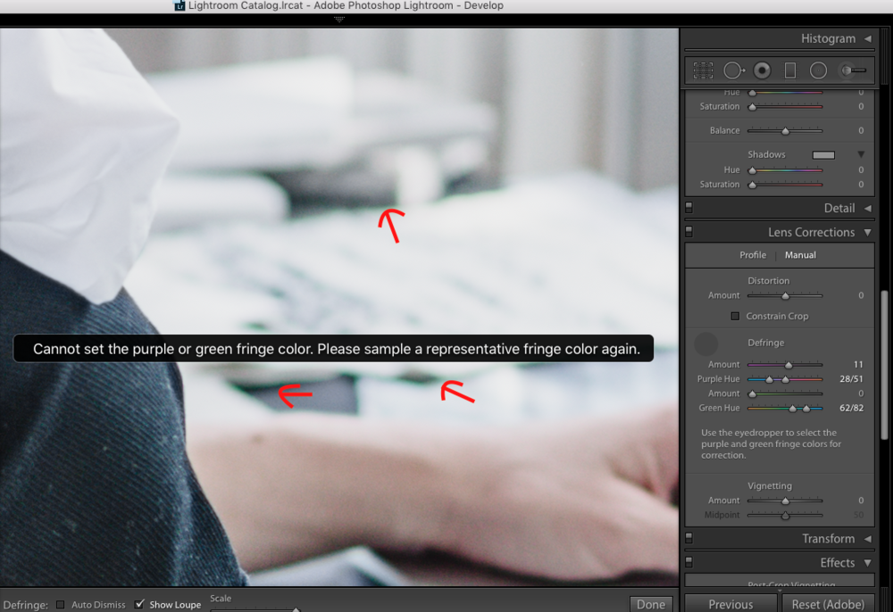 Photo tutorial on how to fix chromatic aberration in photographs that are backlit