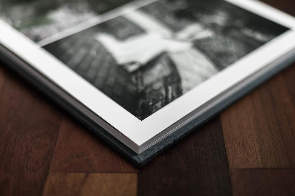 Close up example of luxe linen portrait album by Chicago fine art portrait photographer Katharine Hannah