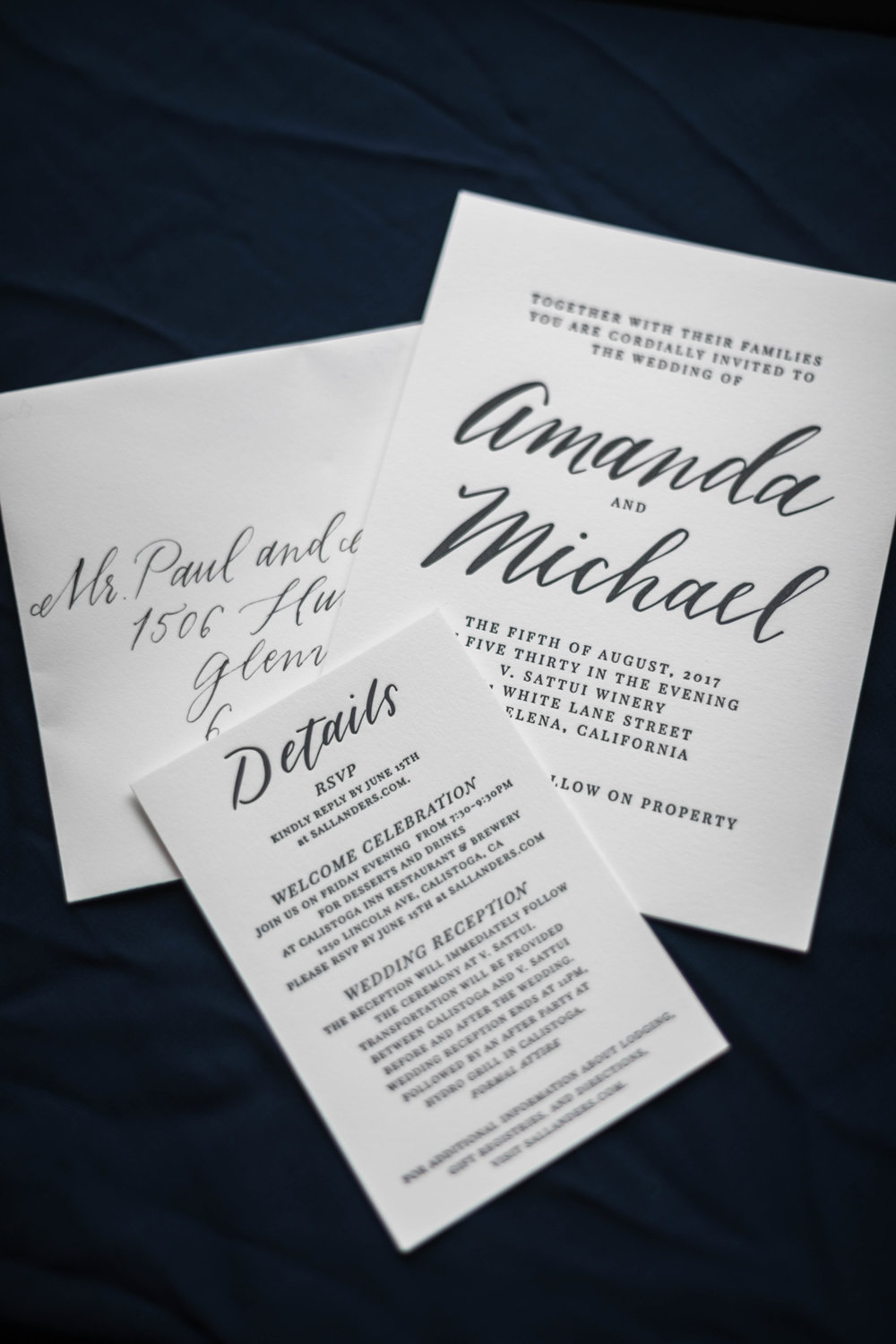 Navy blue custom wedding invitation by letterpress printer Four Hats Press in Chicago