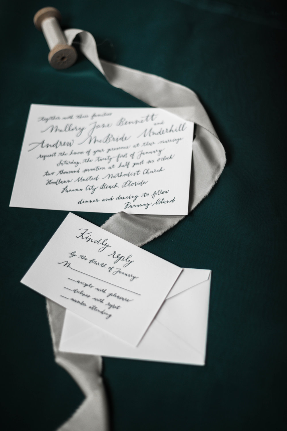 Forest green wedding invitation created by Four Hats Press in Chicago