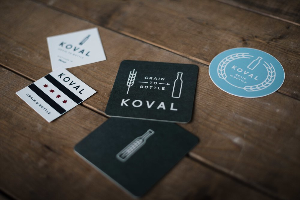 Koval distillery design by KNOED branding and graphic design studio in Chicago