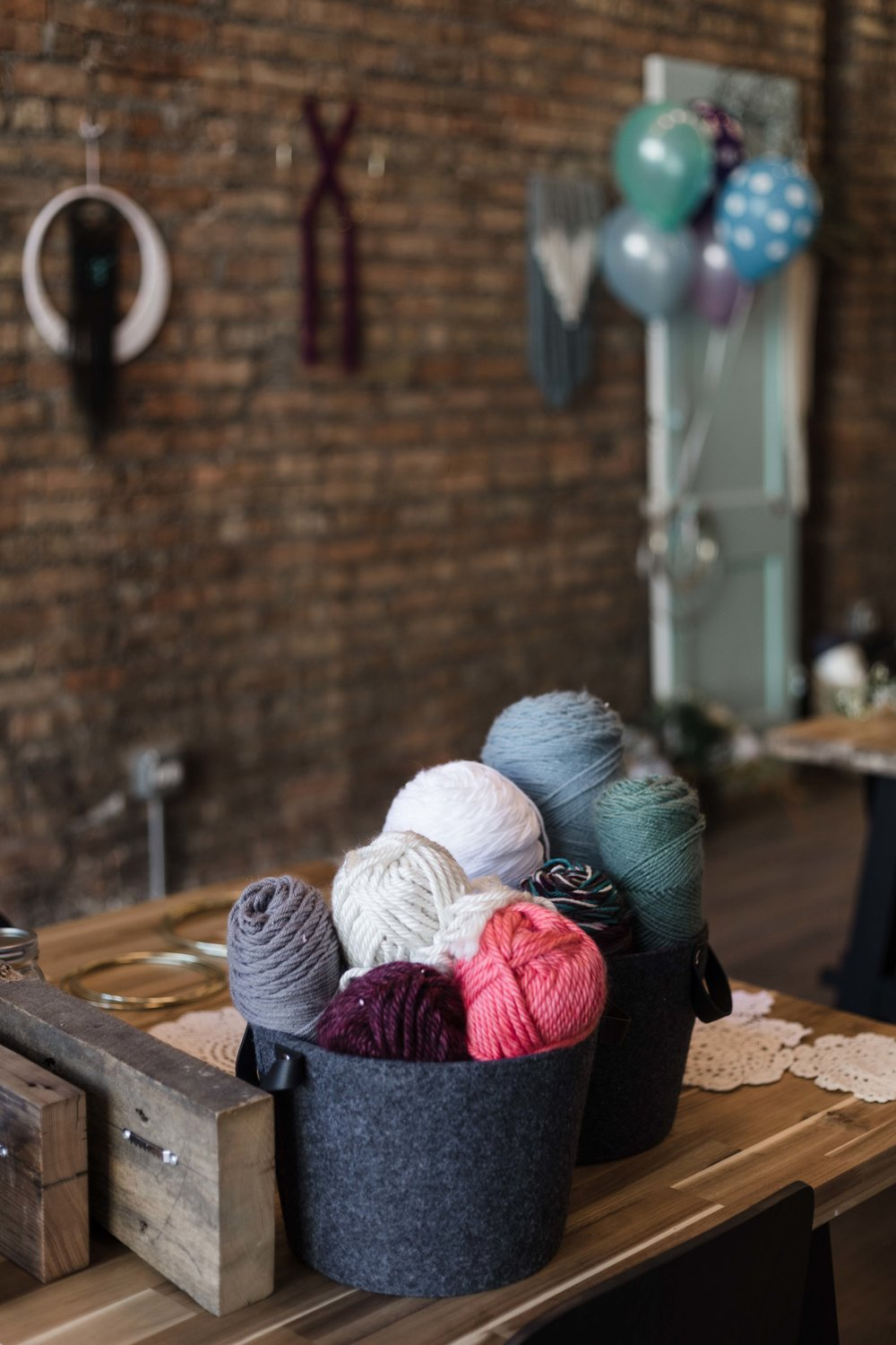 Yarn for crafting event by The Glossary held in Indigo & Violet Studio on Chicago's north side