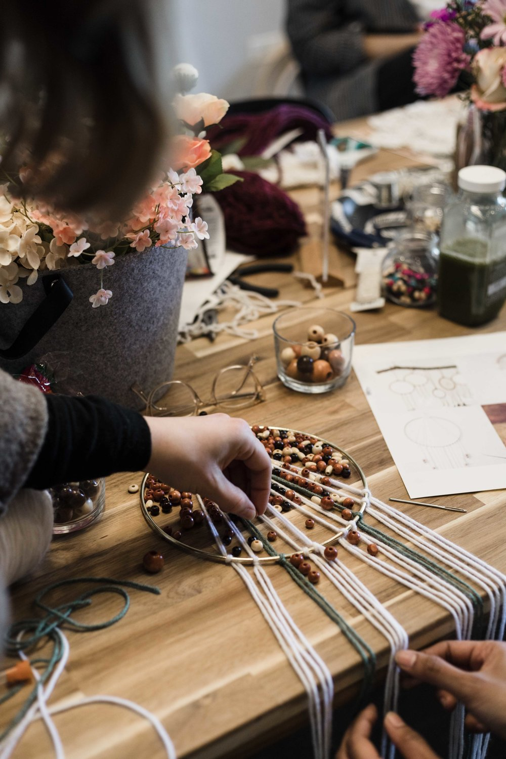 Crafting event at Indigo & Violet Studio for The Glossary on Chicago's north side
