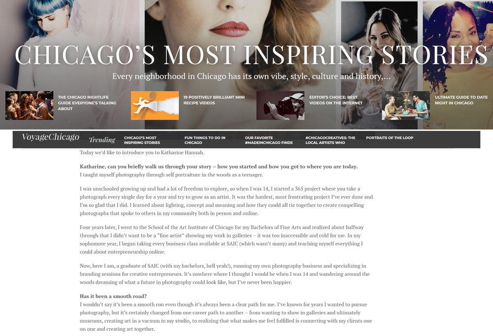 INterview with Katharine Hannah Photography for Voyage Chicago's Most Inspiring Stories