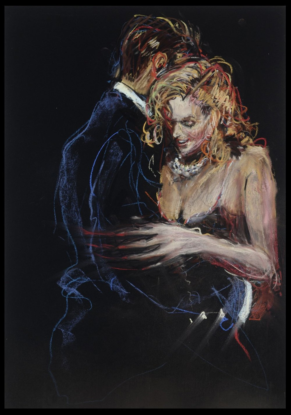 He Swirled Her Pearls  18 x 26 inches, pastel on paper