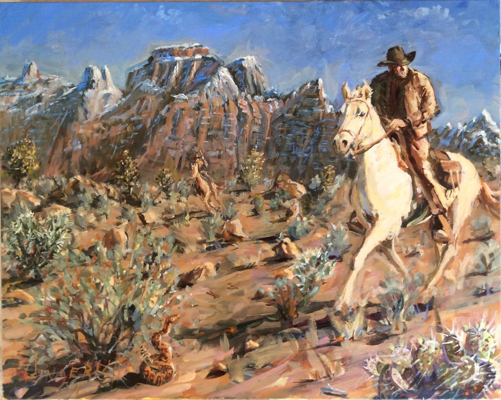 Riding Past Zion  24 x 30 inches, oil on canvas