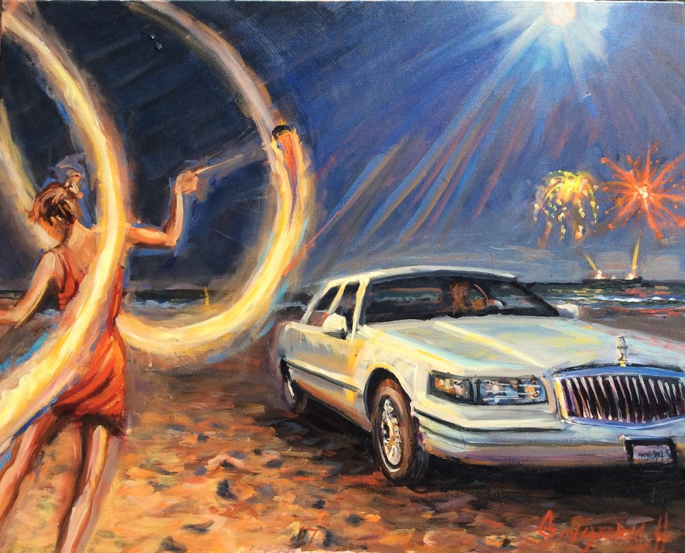 Fire Car Moon Sea  24 x 30 inches, oil on canvas
