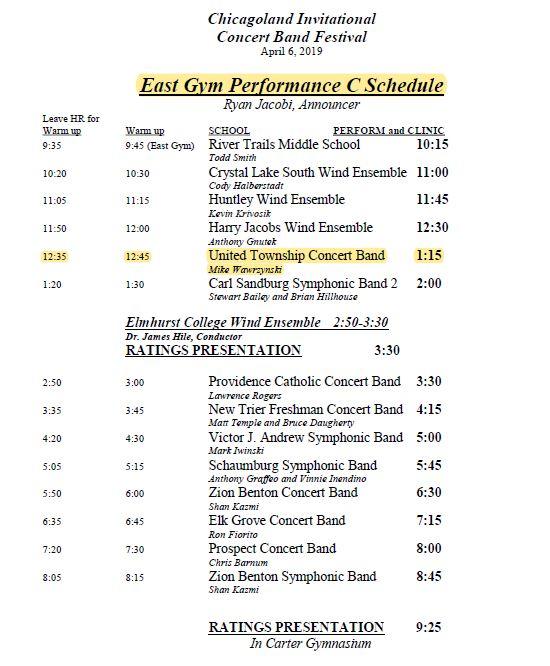 East Gym Concert Band Lineup