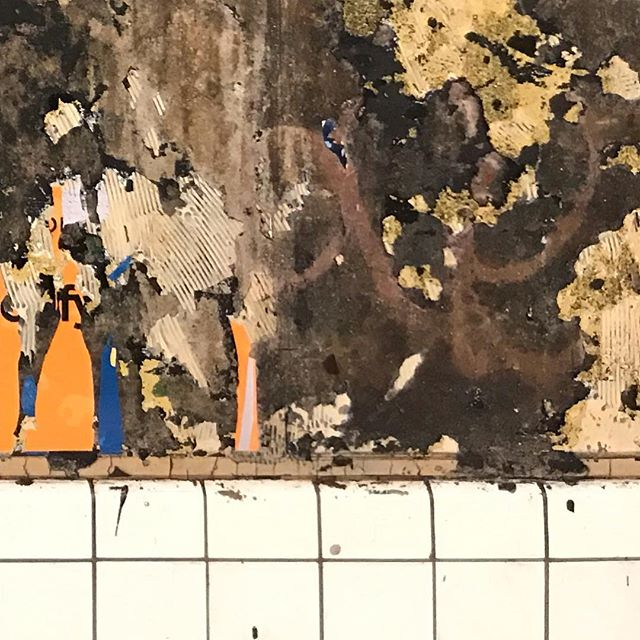 #foundabstract #collageinspiration #paintinginspiration #decollage #layers #history #contrast #nycsubway #photography