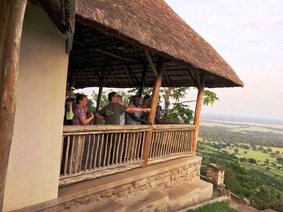 Tourists excited about the view of the hotel at Enganzi lodge.