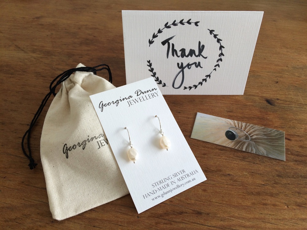 My new Thank you cards along with handmade cotton jewellery bag and my great Moo card!