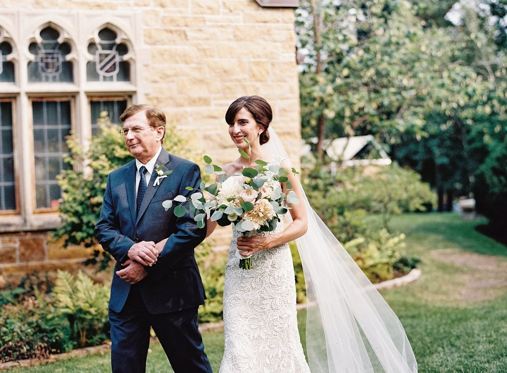 Father of the Bride walks bride down aisle