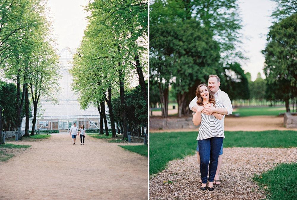 Walker Sculpture Garden engagement session. Shot on the Contax 645 camera, Kodak film.
