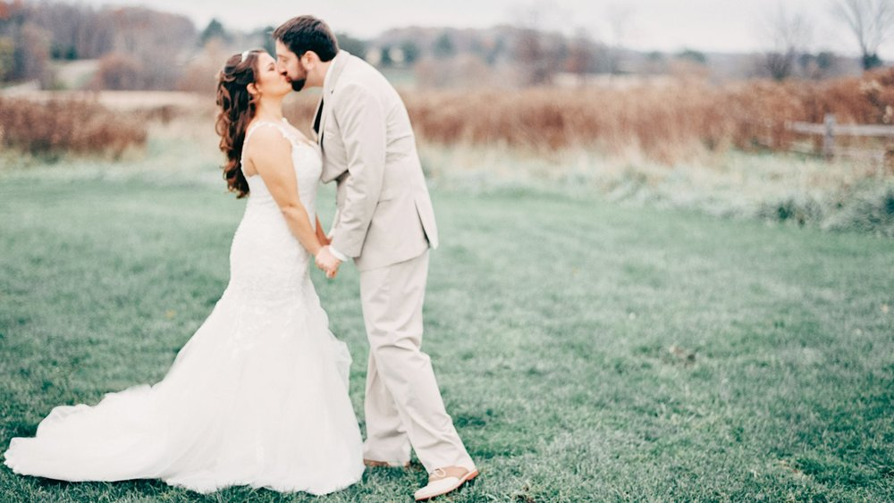 Rustic late Autumn Wisconsin wedding at the Enchanted Barn.  Shot on a Contax 645 camera.