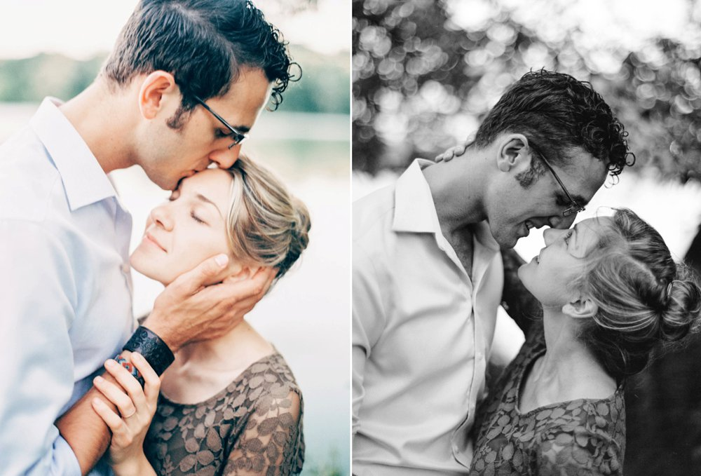 Romantic engagement posing