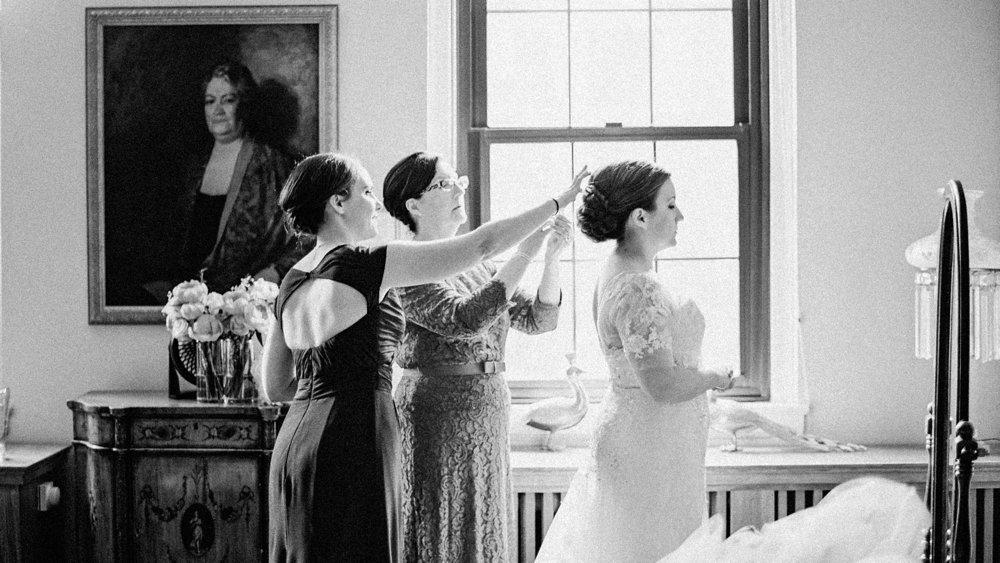 Bride Getting Ready at Woman's Club