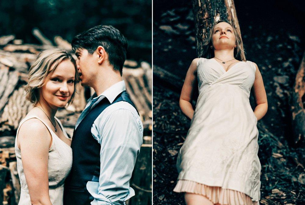creative wedding photography jane on log
